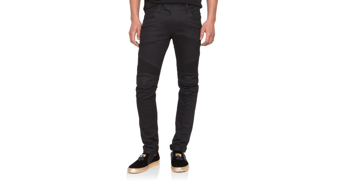 337cd51a Balmain Slim-Fit Raw Denim Moto Jeans in Black for Men - Lyst