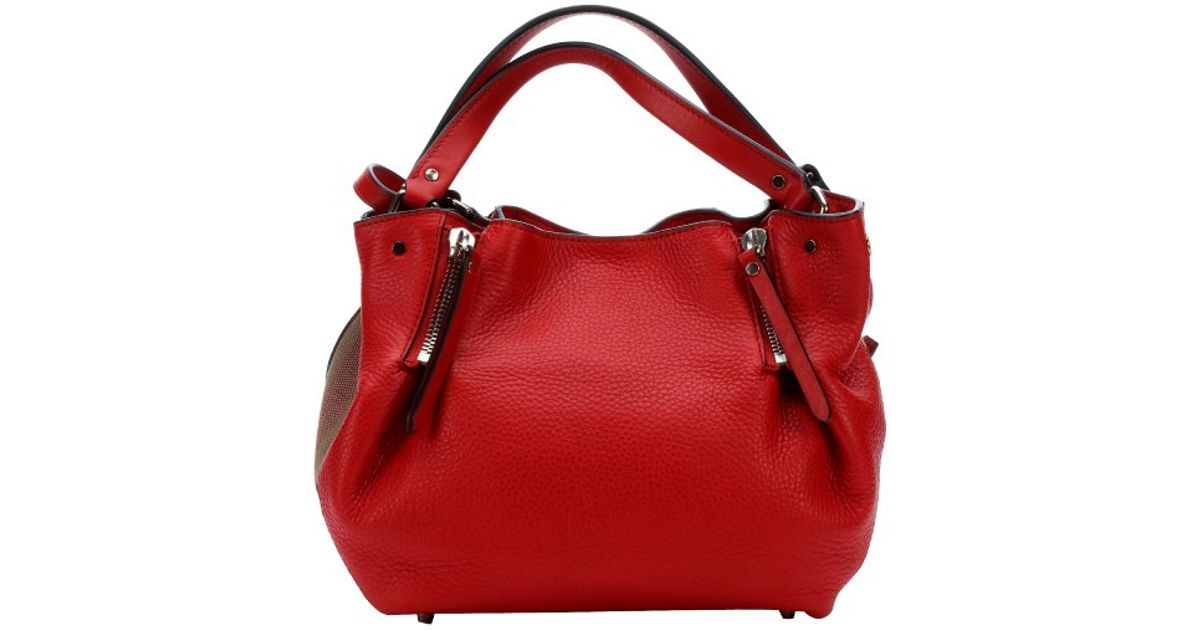 Lyst Burberry Cadmiun Red Leather And Check Canvas Maidstone Zip Convertible Small Tote Bag In