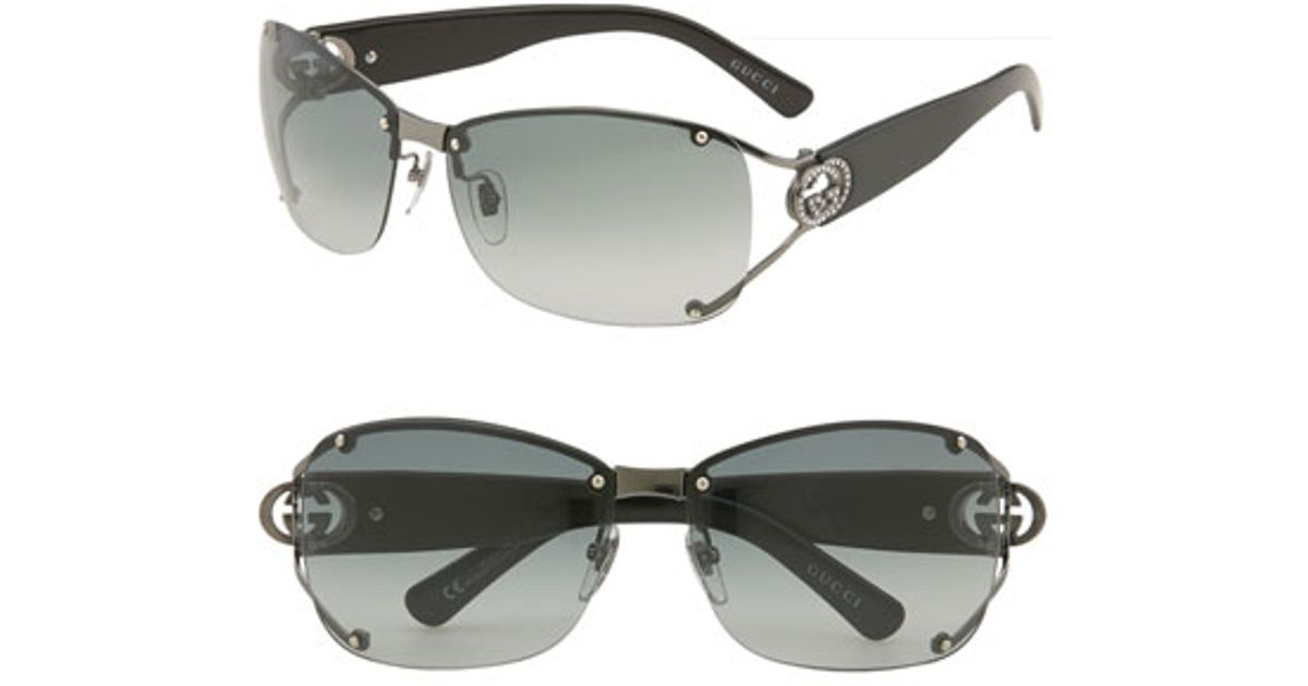 2d6c8cfeed Lyst - Gucci 62mm Open Temple Special Fit Rimless Sunglasses - Gunmetal in  Metallic