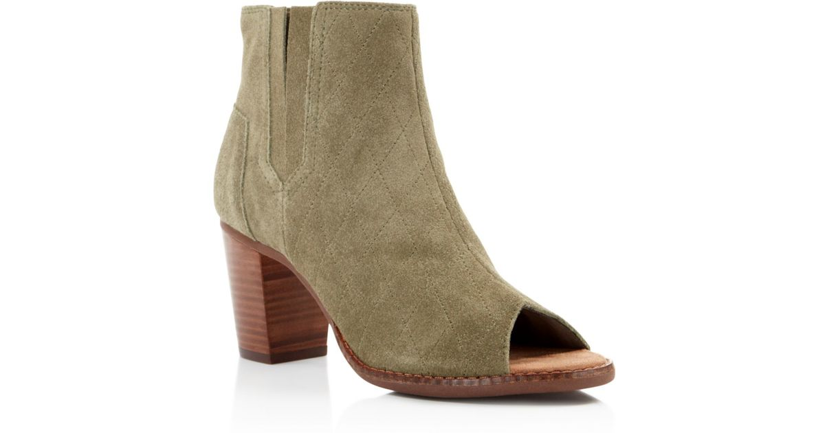 0f1995feeb0 Lyst - TOMS Majorca Quilted Suede Open Toe Booties in Green