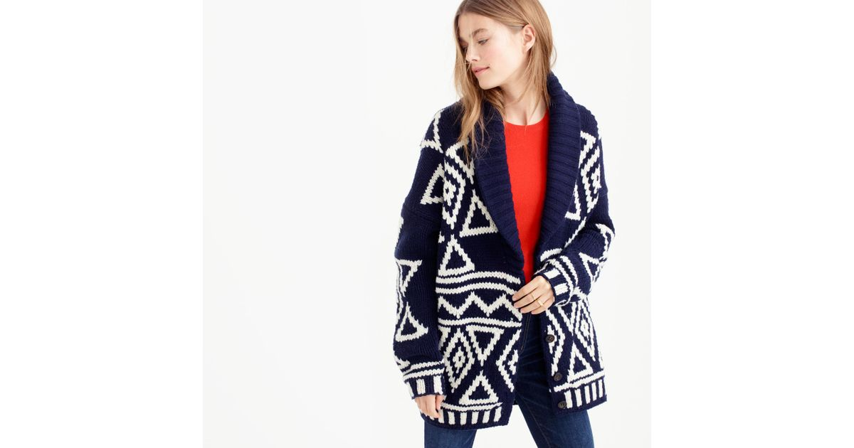 J.crew Collection Fair Isle Cardigan Sweater In Lambswool in Blue ...