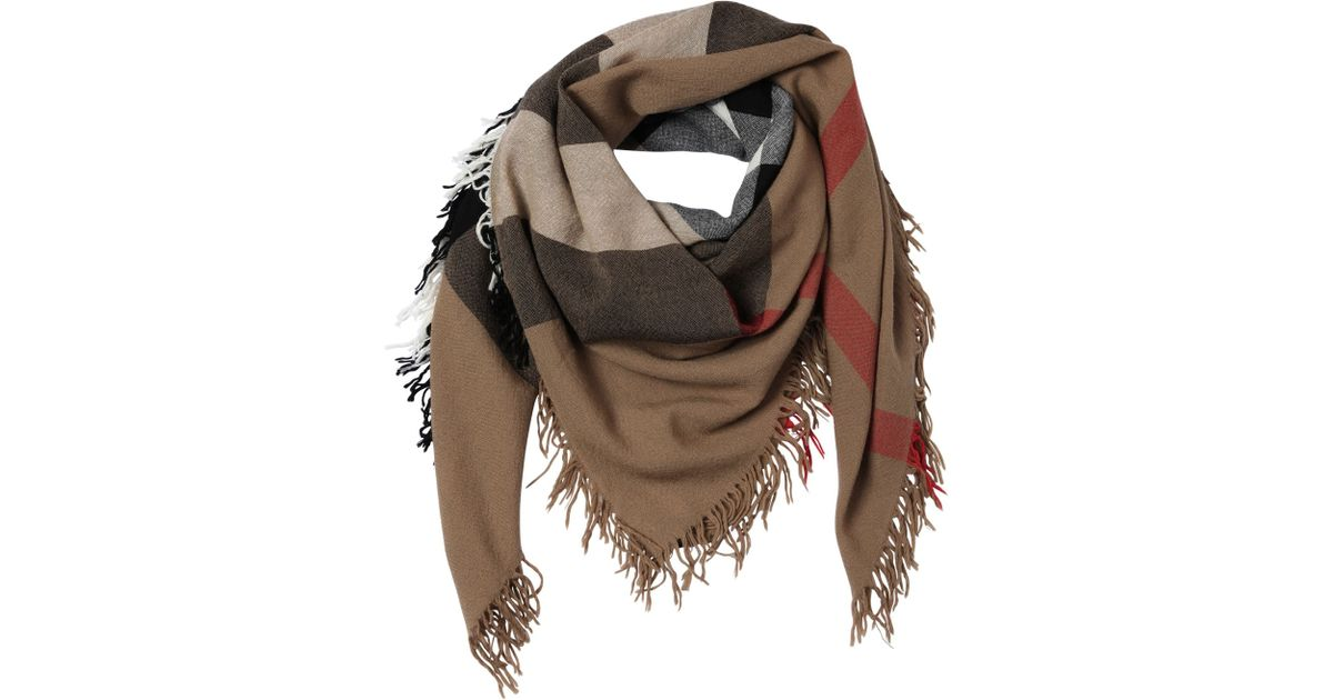 Lyst - Burberry Check Extra Fine Merino Wool Scarf in Brown 72065c44a5