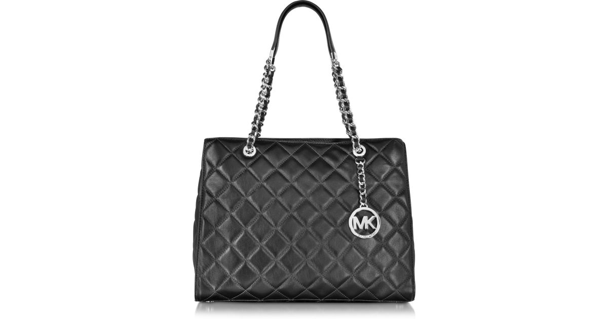 c94ddd660cd5 Lyst Michael Kors Susannah Large Black Quilted Leather Tote Bag In