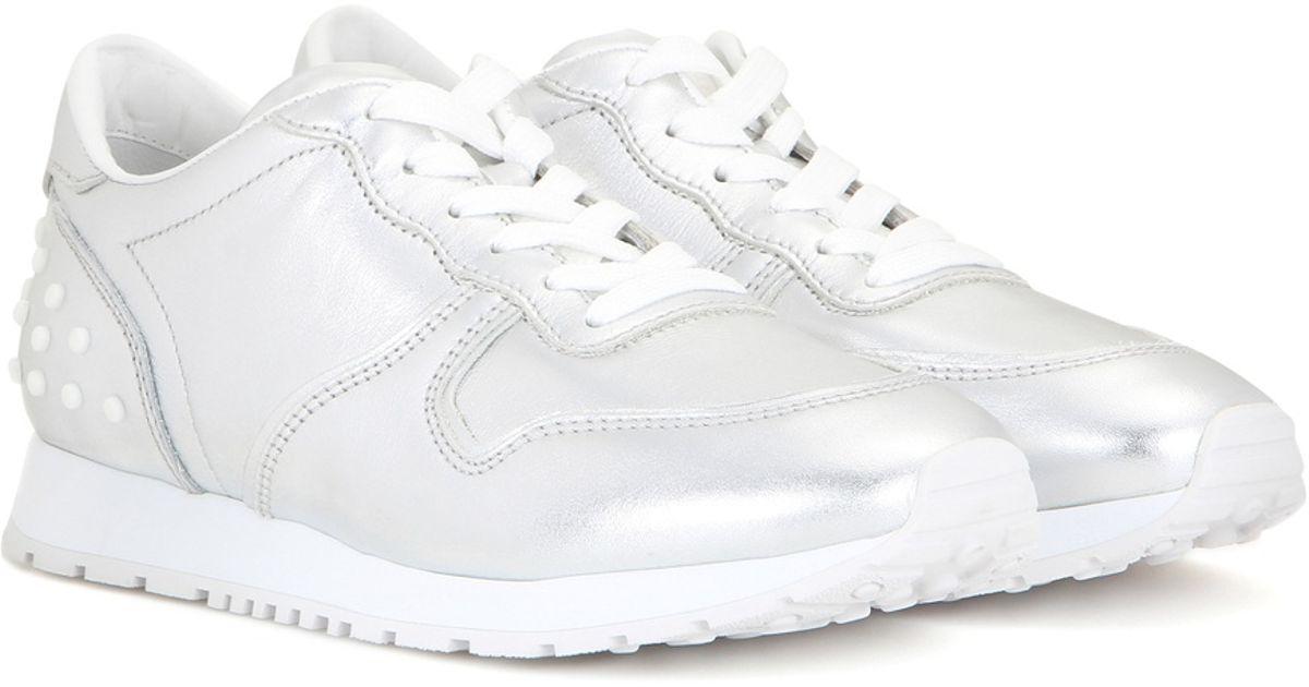 Blanc Sneaker En Cuir Tods QJur5cMUi