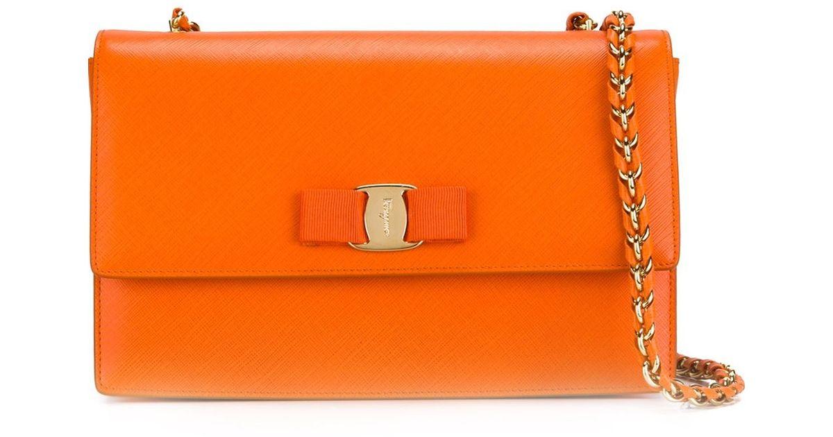 5b5e927045e5 Lyst - Ferragamo Ginny Crossbody Bag in Orange