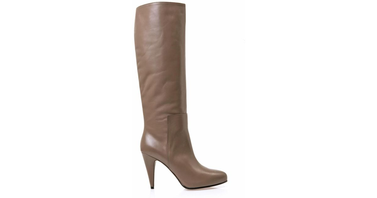balenciaga new easy leather knee high boots in beige lyst