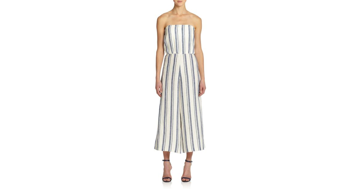 feec5126c3a Lyst - Alice + Olivia Lucie Striped Linen Jumpsuit in Blue
