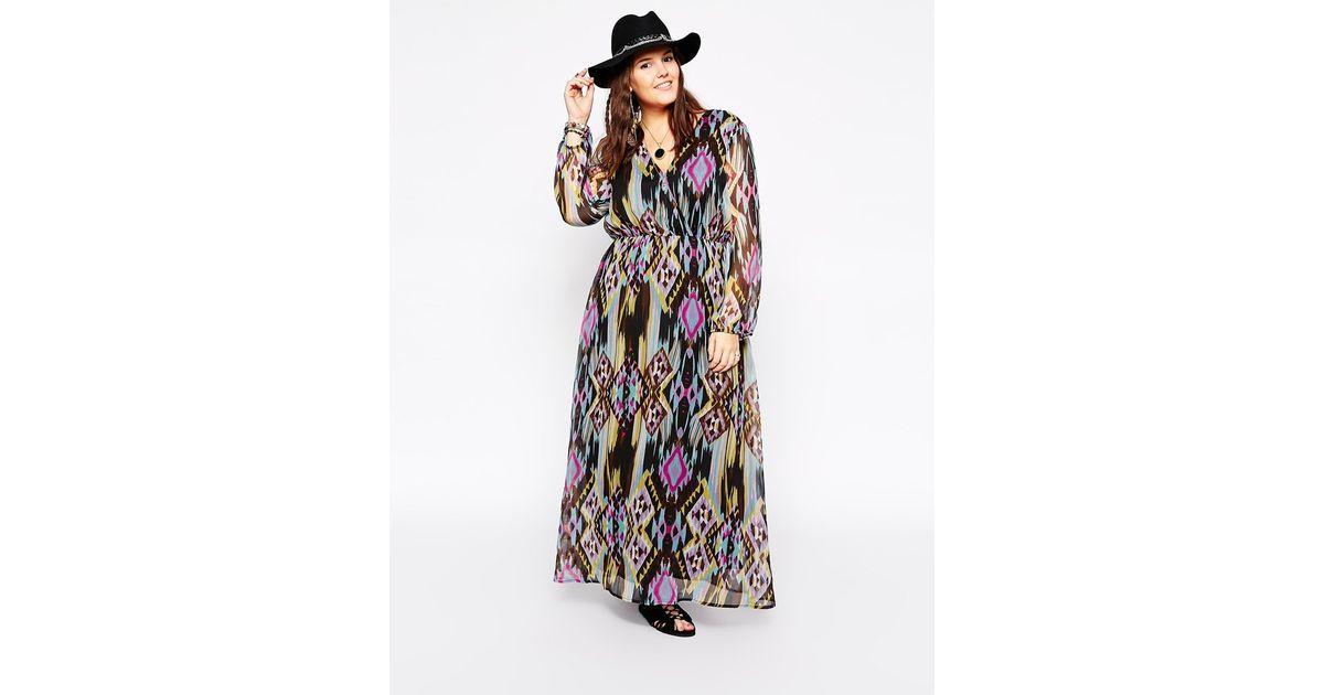 Diya Plus Size Long Sleeve Printed Maxi Dress - Lyst