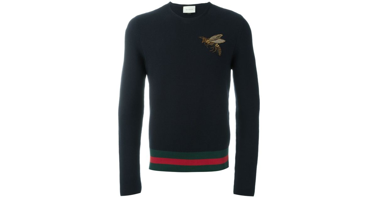 3f4bcd566498 Lyst - Gucci Crew Neck Pull in Blue for Men