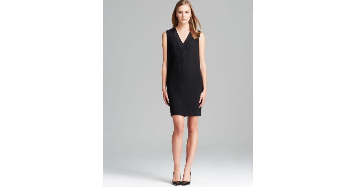 Lyst Dkny Sleeveless V Neck Sheath Dress In Black