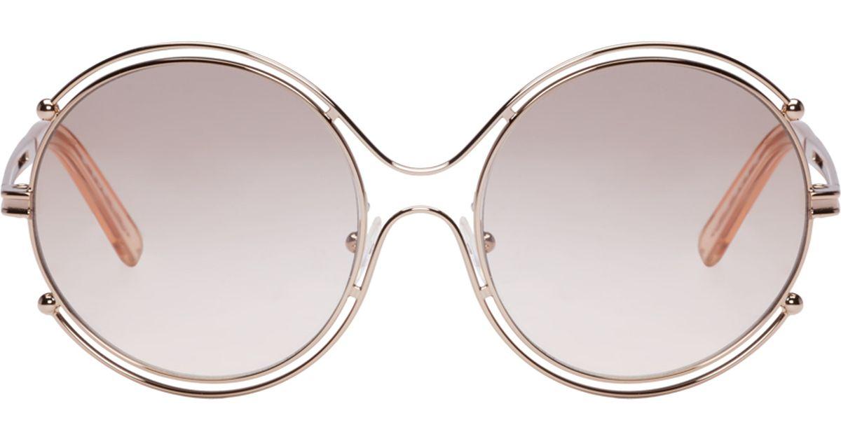 5fef5181f6c Lyst - Chloé Rose Gold Isidora Sunglasses in Pink
