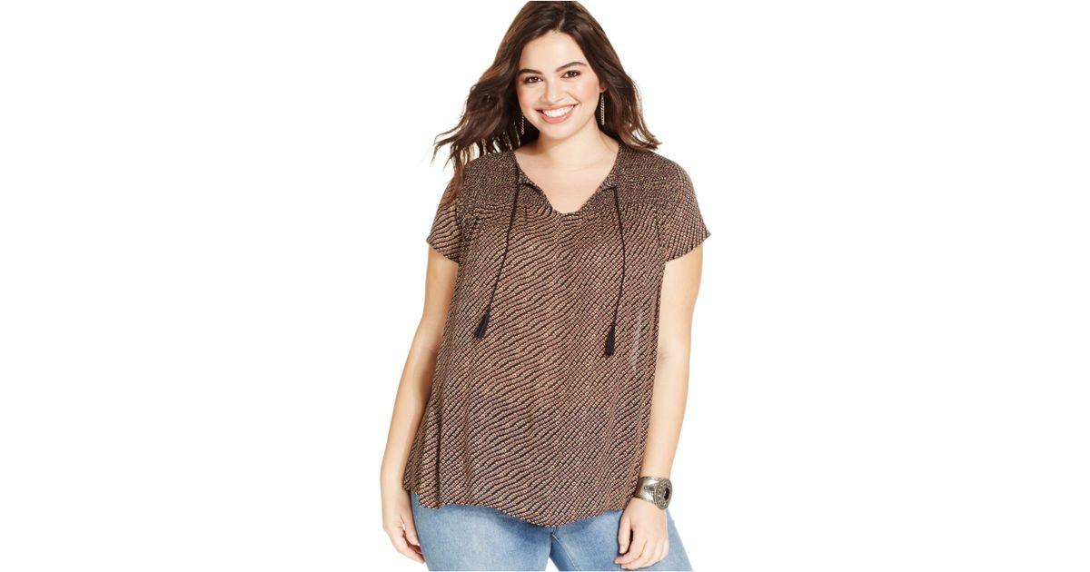 0d97697629b Lyst - Lucky Brand Lucky Brand Plus Size Geo-stripe Peasant Top in Brown
