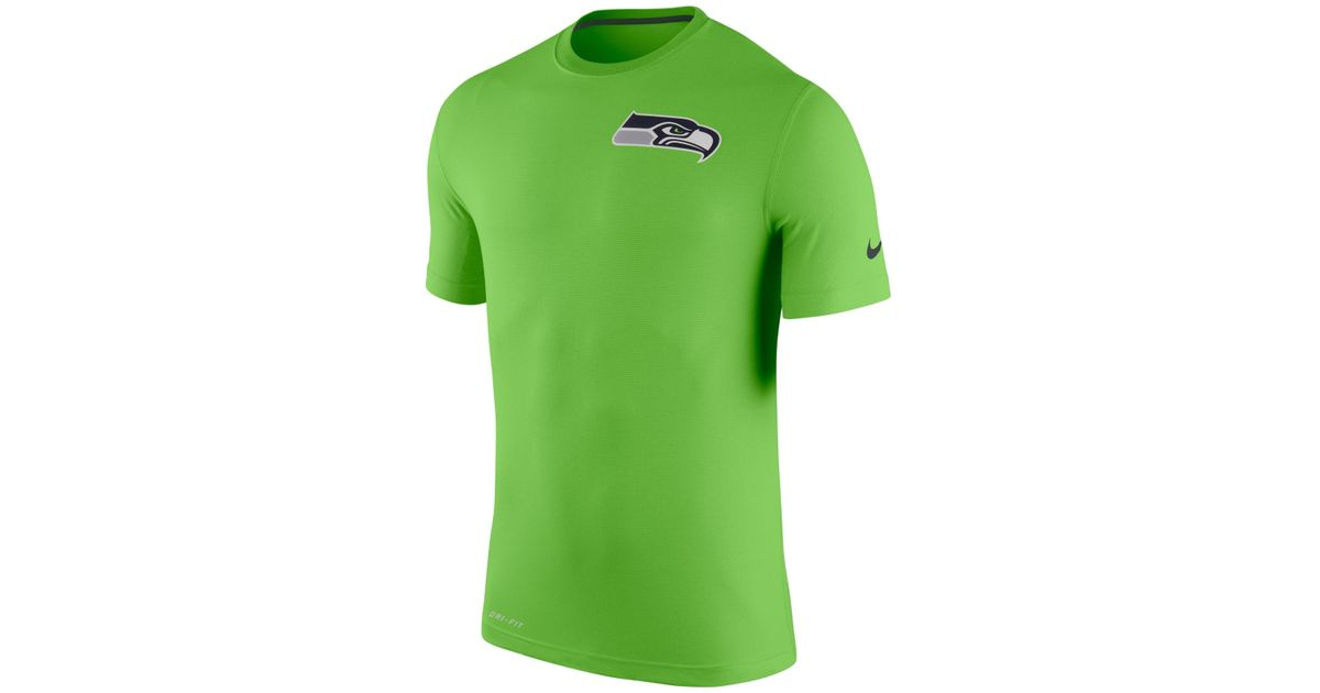 Nike men 39 s seattle seahawks dri fit touch t shirt in green for Neon green shirts for men