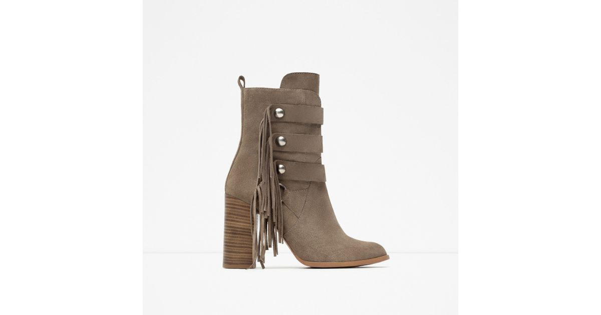 zara high heel leather ankle boots with fringes in