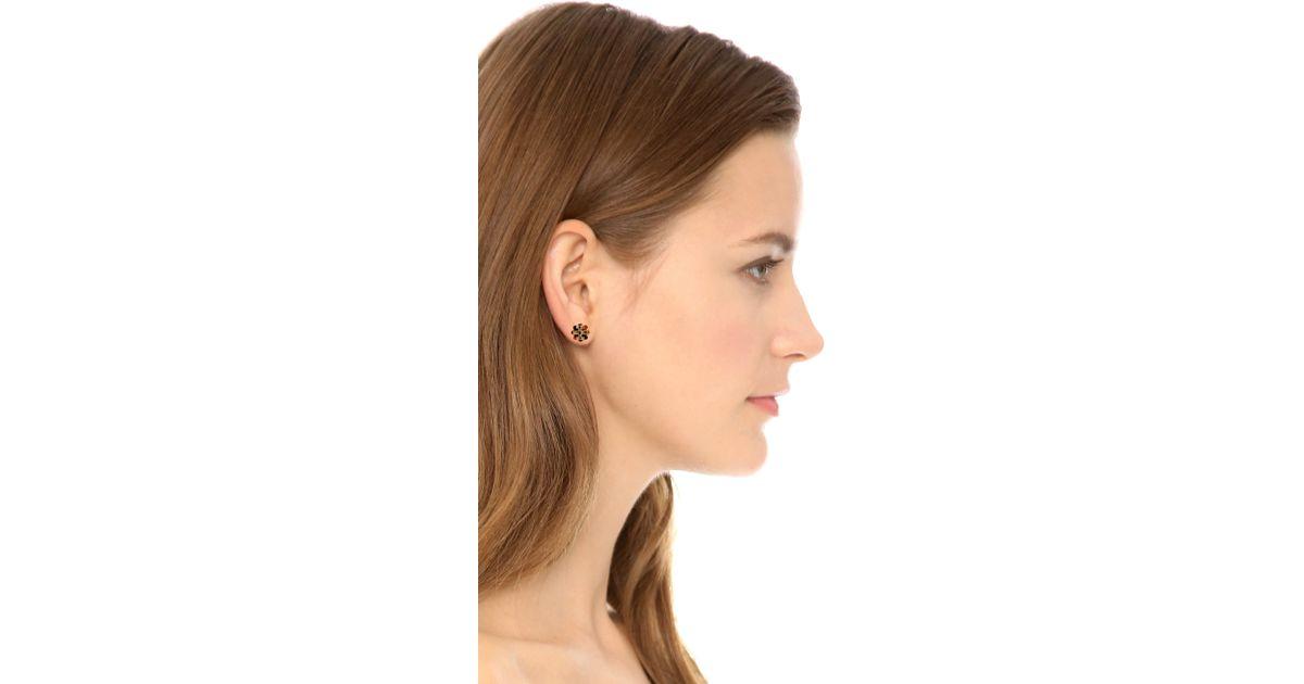 Lyst Tory Burch Logo Flower Resin Stud Earrings Tortoise Shiny Gold In Metallic