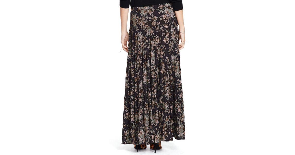 ee95108986 Denim & Supply Ralph Lauren Floral-print Tiered Maxiskirt in Black - Lyst