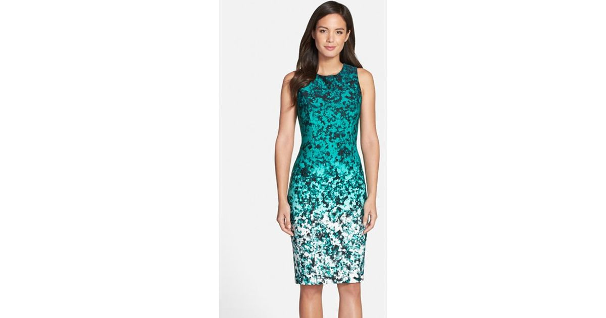 5ae3d9319b9 Vince Camuto Ombre Floral Print Sleeveless Sheath Dress in Green - Lyst