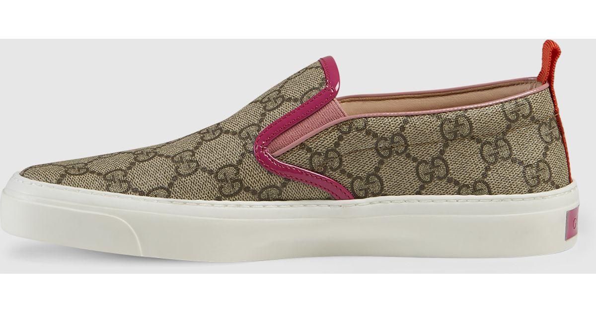 54c55fd1f34c Lyst - Gucci Gg Supreme Slip-on Sneaker in Gray