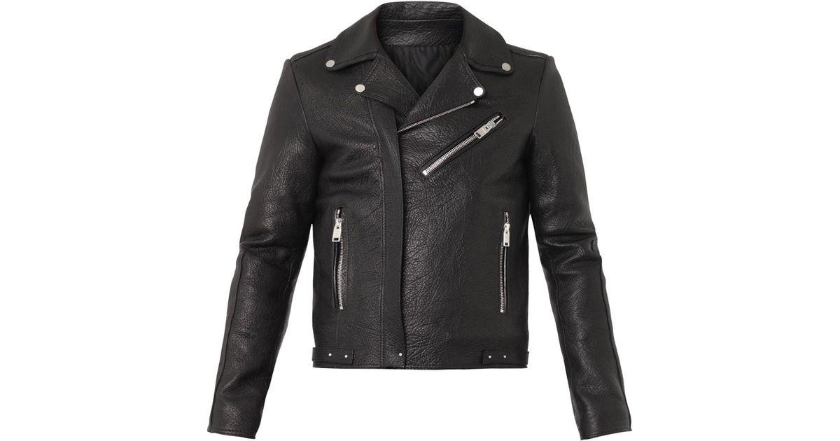 Lyst - Balenciaga Grained-leather Biker Jacket in Black for Men 32994d362
