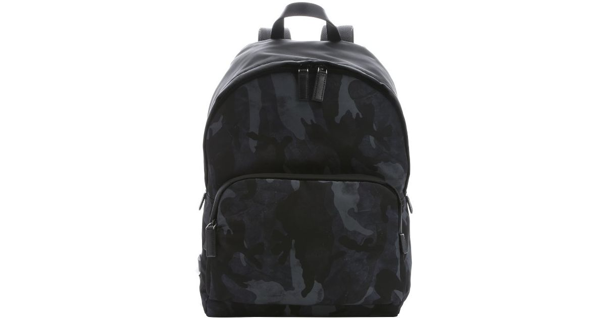 a799b695385b ... shop lyst prada blue and black camouflage nylon backpack in blue for  men acb8f eadec