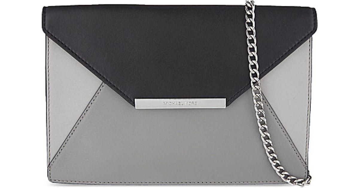 cfc905e475ea MICHAEL Michael Kors Lana Leather Envelope Clutch in Gray - Lyst