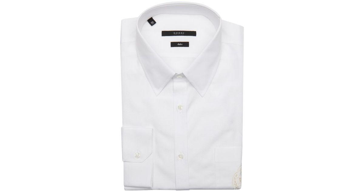Gucci White Cotton Duke Point Collar Logo Embroidered Dress Shirt