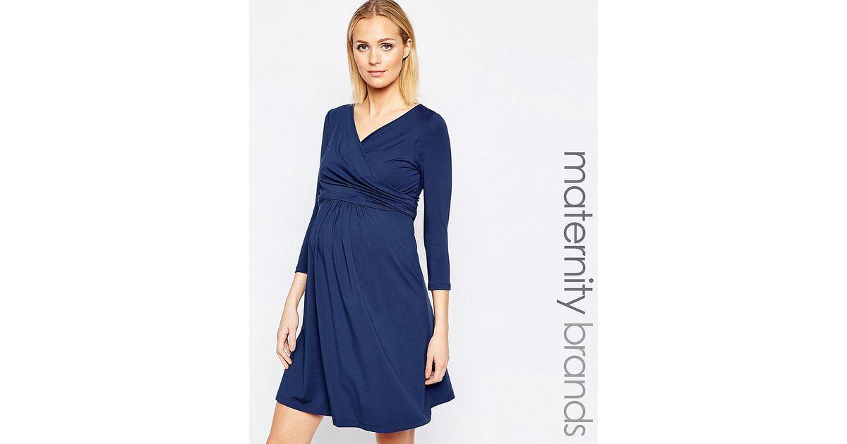 fc3221f212d6c Isabella Oliver Nursing Short Sleeve Wrap Dress With Tie Waist in Blue -  Lyst