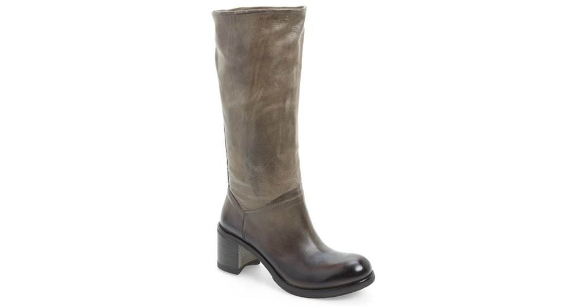 kbr knee high suede and leather boots in gray grey