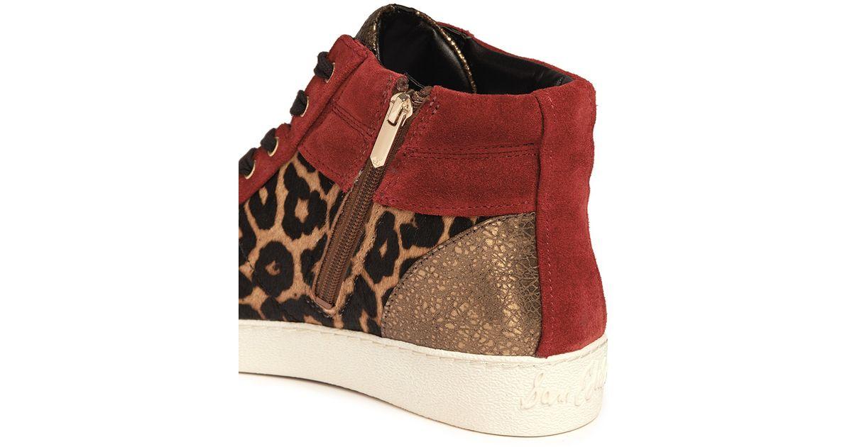 9b5248970b165 Sam Edelman  britt  Leopard Calf Hair Leather Combo Sneakers in Red - Lyst