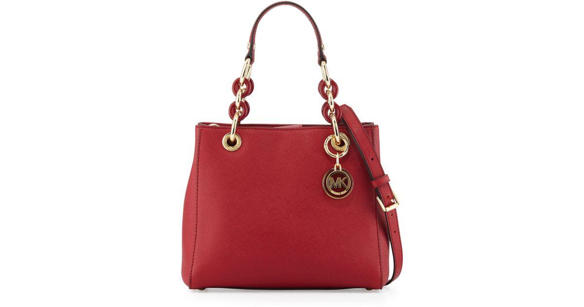 c5699b63ae1dbc MICHAEL Michael Kors Cynthia Small Saffiano Satchel Bag in Red - Lyst