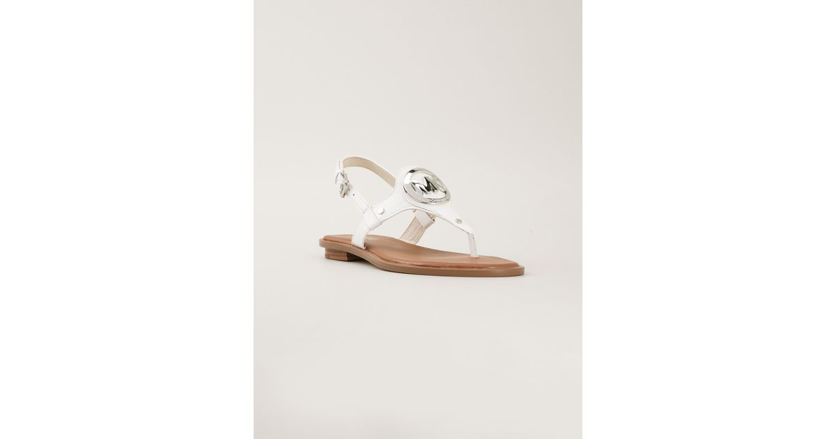 6650f025245c9a Lyst - MICHAEL Michael Kors Aubrey Flat Sandals in White