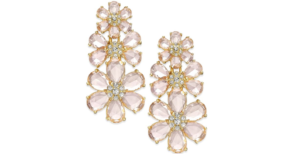Lyst Kate Spade At First Blush Drama Flower Earrings In Pink