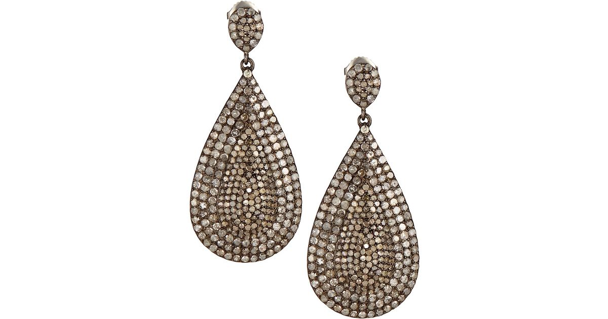 lyst bavna pave diamond teardrop earrings in metallic