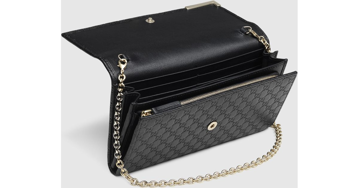 3d4afbb00154 Gucci Microssima Leather Chain Wallet in Black - Lyst