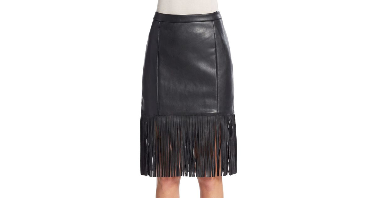 bagatelle fringe faux leather skirt in black lyst