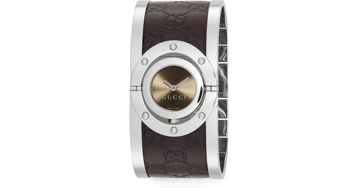 0820d441d8b Gucci Twirl Stainless Steel   Leather Bracelet Watch in Brown - Lyst