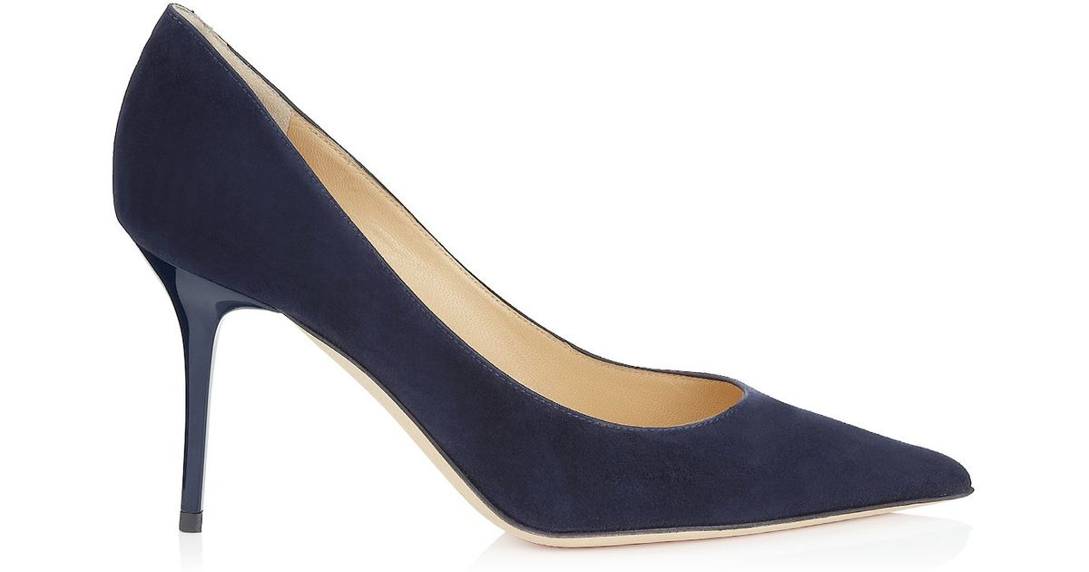 f96a355c9676 Lyst - Jimmy Choo Agnes Navy Suede Pointy Toe Stiletto Pumps in Black