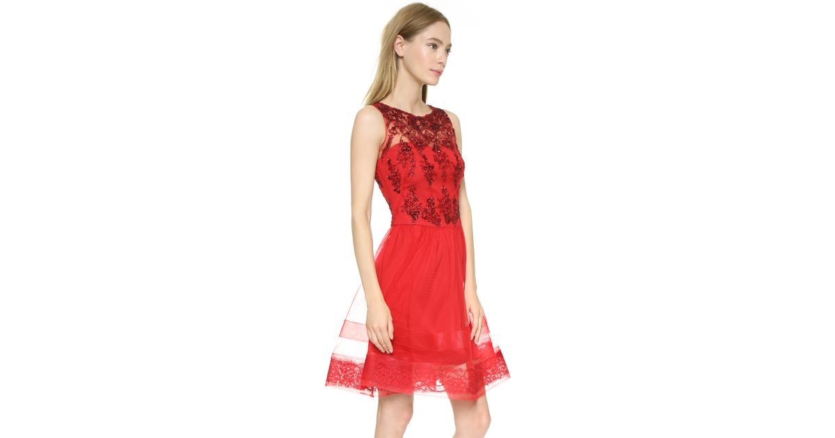 ea11156810e Marchesa notte Sleeveless Lace Cocktail Dress - Bright Red in Red - Lyst
