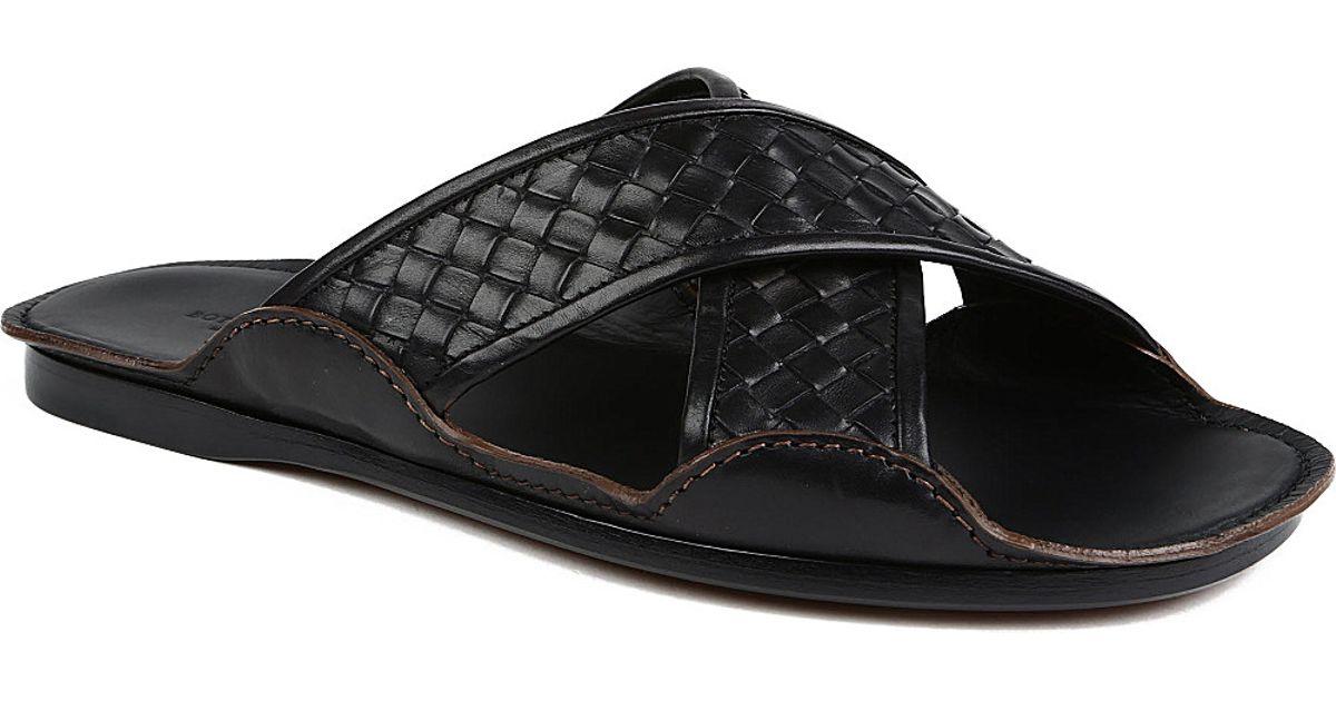 612f39081561 Bottega Veneta Intrecciato Cross Strap Sandals in Black for Men - Lyst