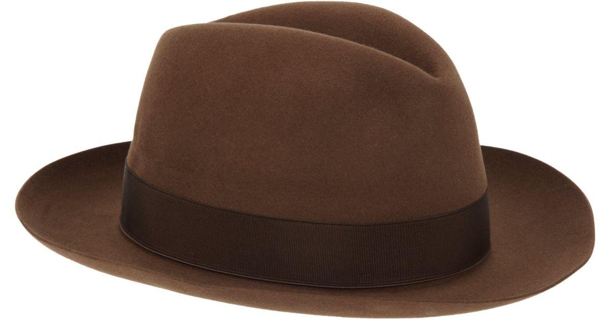 75a65662db017 Borsalino Beaver Fur Felt Fedora-brown Size 7 in Brown for Men - Lyst