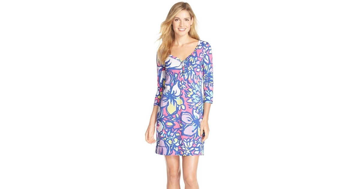 523c5c39f8a Lyst - Lilly Pulitzer  palmetto  Print Button Front Pima Cotton T-shirtdress