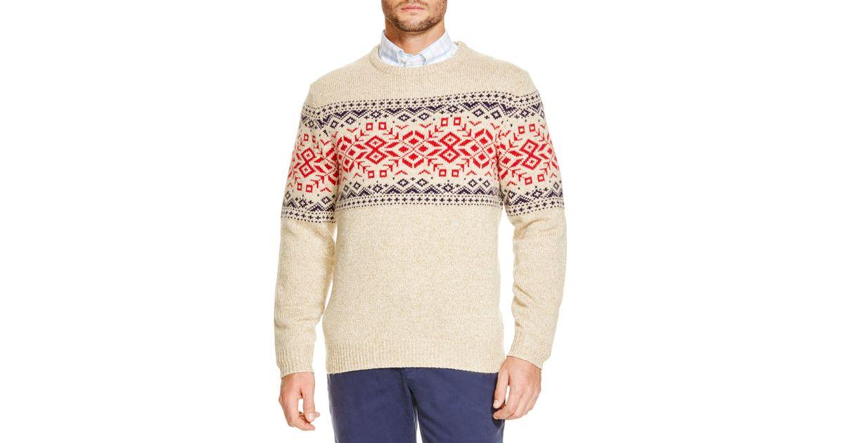 Vineyard vines Fair Isle Crewneck Sweater in Natural for Men | Lyst