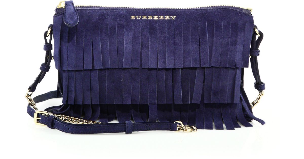 8bf8b28a49e Burberry Peyton Fringed Suede Crossbody Bag in Blue - Lyst