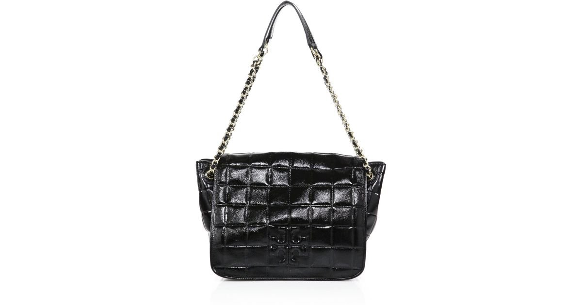 9942ef0bb219 Lyst - Tory Burch Marion Quilted Patent Leather Shoulder Bag in Black
