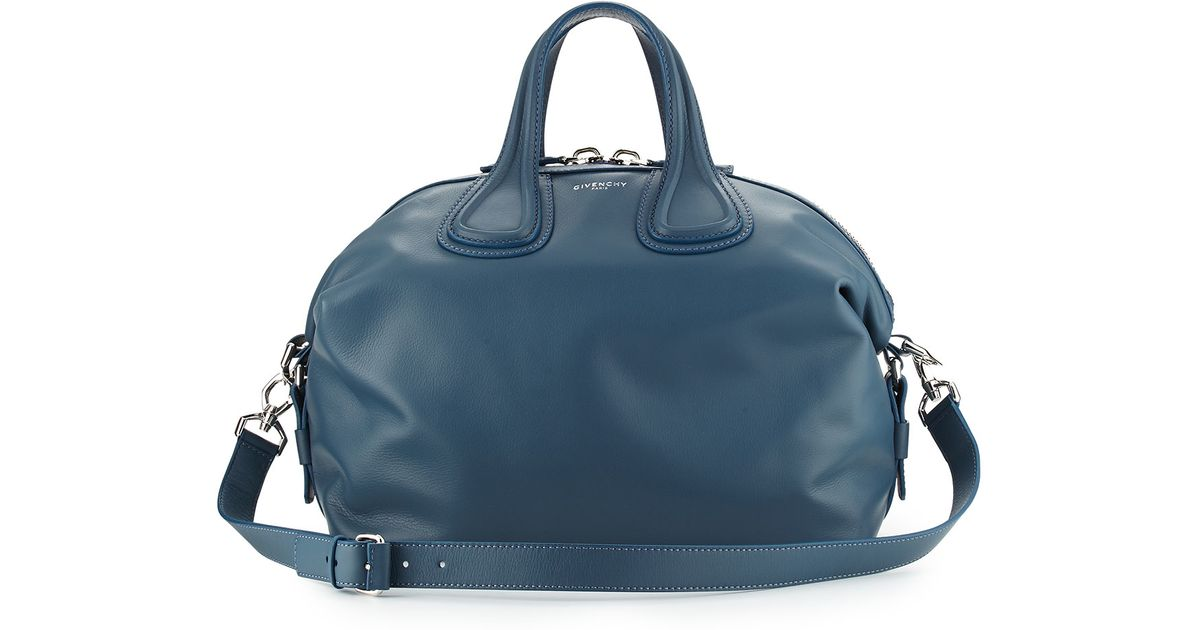 56ea81eaba Lyst - Givenchy Nightingale Medium Waxy Leather Satchel Bag in Blue