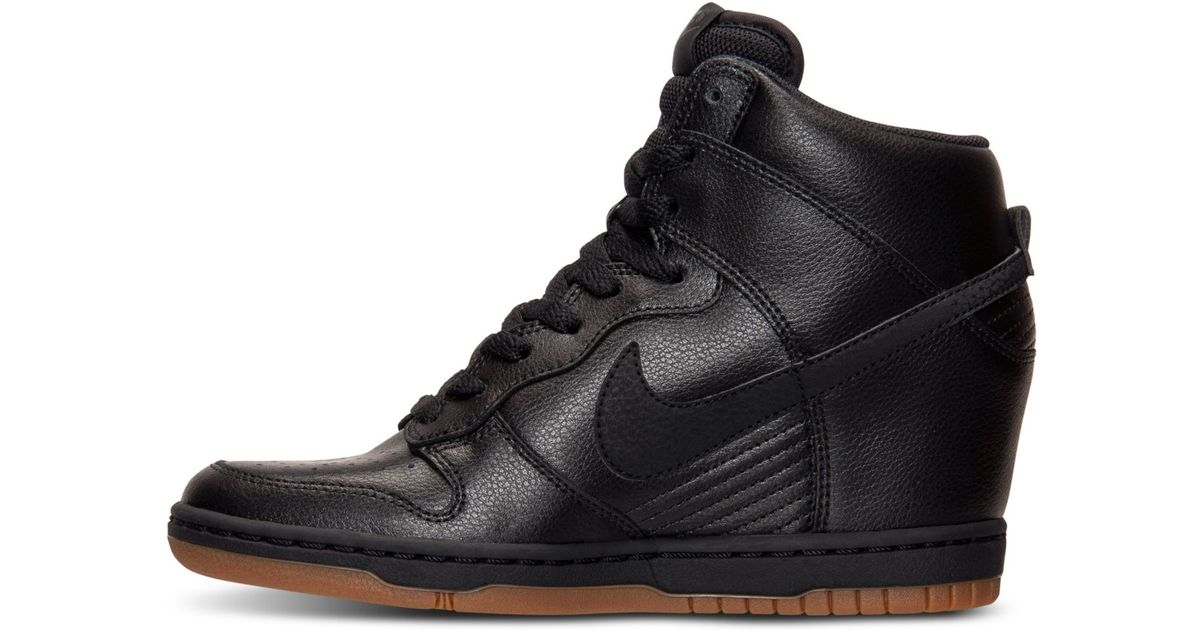 the latest e1c97 d493f ... cheap lyst nike dunk sky hi essential leather sneakers in black 3635a  a0c97