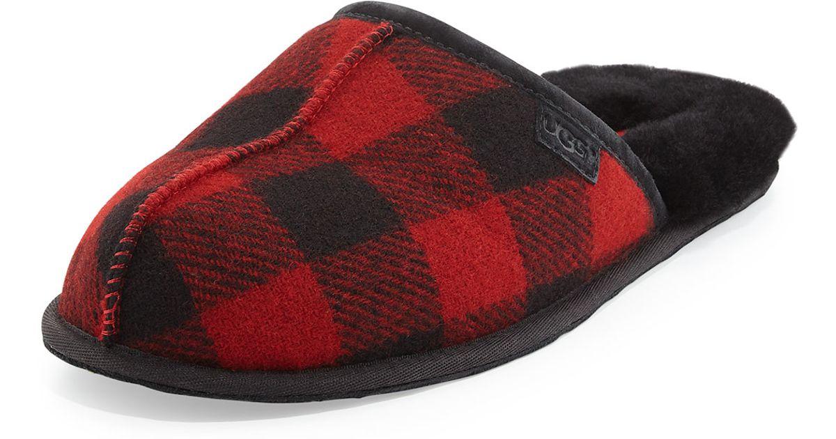 18dd21f47 UGG Scuff Buffalo Plaid Wool Slippers in Red - Lyst