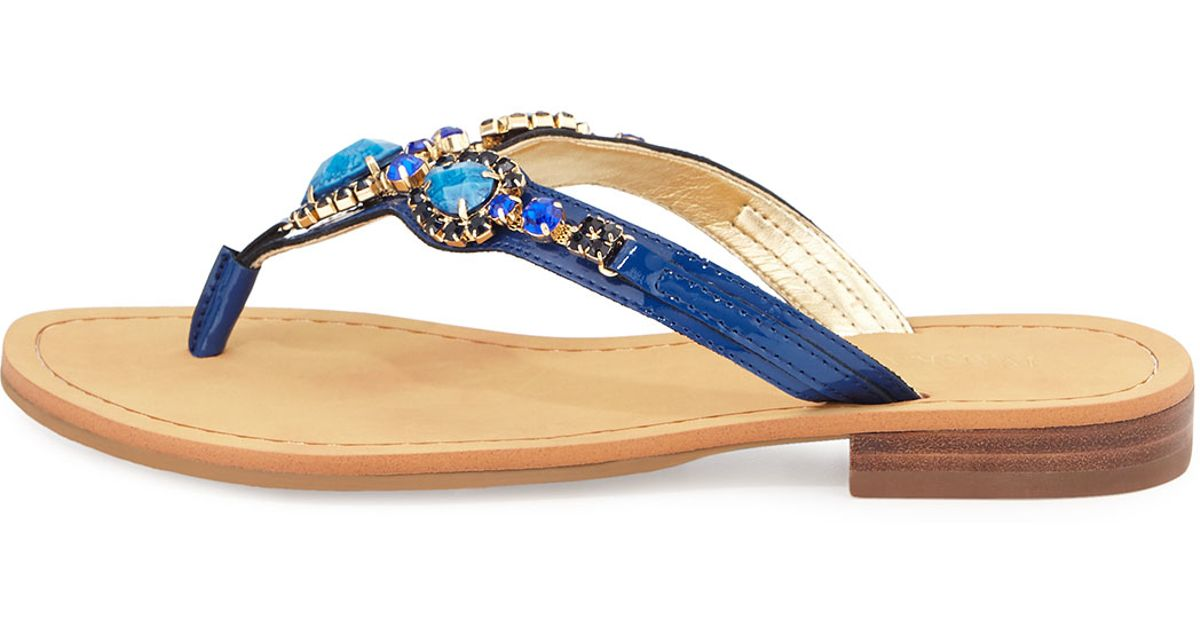 01ad1bf5e Lyst - Ivanka Trump Palla Jeweled Leather Thong Sandal in Blue