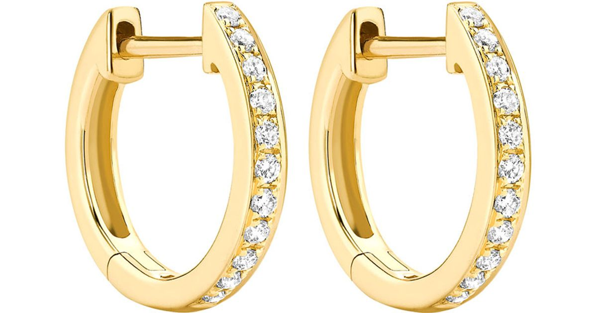 Diamond Hoop Earrings Yellow Gold Clic Channel Set Diamond