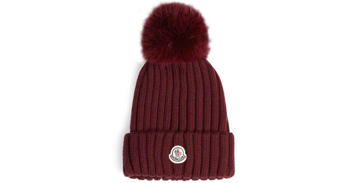 Lyst - Moncler Fox-fur Pompom Knitted Beanie Hat in Purple 6e4a2544907